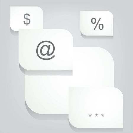 Paper white icons with labels.