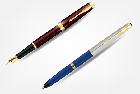 nib: Pen with gold nib and ballpoint pen. Detailed form.  Illustration