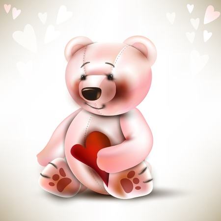 Teddy bear toy with red heart in his arms. Vector