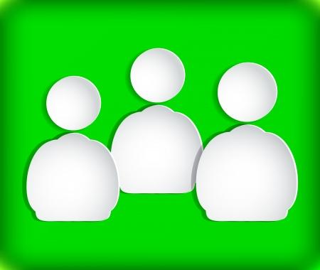 figuras humanas: Las figuras humanas en papel. Fondo verde. Vectores