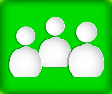The human figures on paper. Green background.
