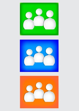 The human figures on paper. Green, red and blue background Vector