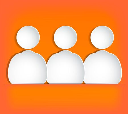 The human figures out of paper in the pocket on an orange background.  Illustration