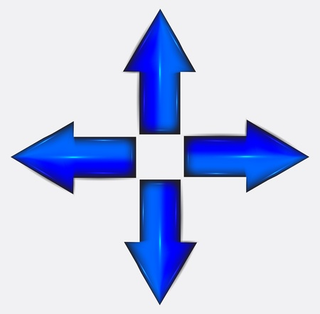 Blue arrows in different directions. Plastic.