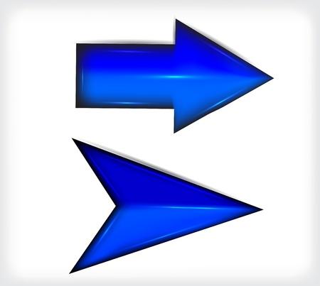 Blue long and short arrows. Plastic.