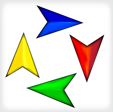 Colored short arrows. Set. Plastic.