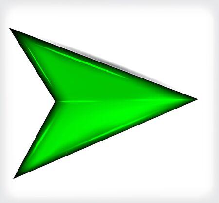 Green short arrow. Plastic.