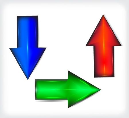 Plastic. A set of colored arrows. Illustration