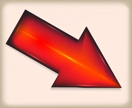 Red arrow. Plastic.  Illustration