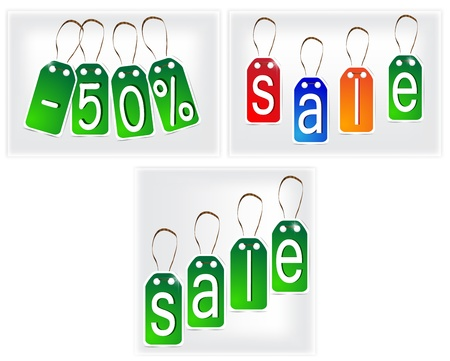Green and multi-colored SALE signs made of paper. Illustration