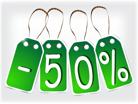 -50% sign green signs made of paper.