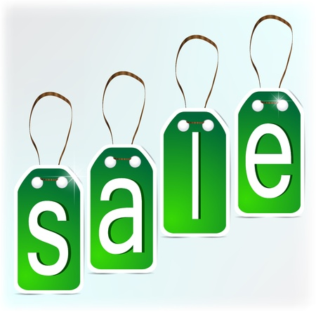 SALE green signs made of paper.  Illustration