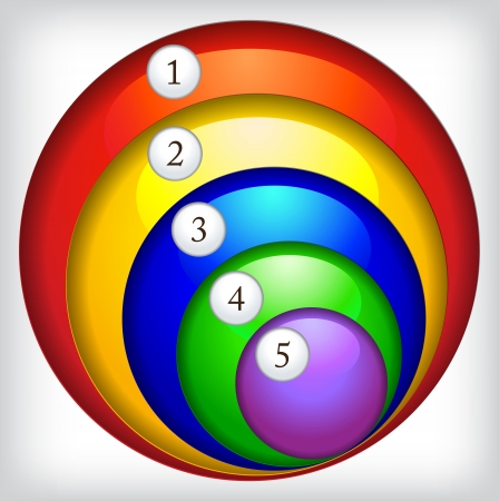 Multi-colored round icons with numbers.