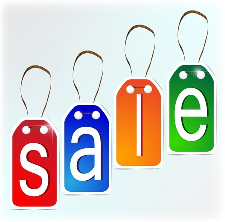 Multi-colored SALE signs made of paper.