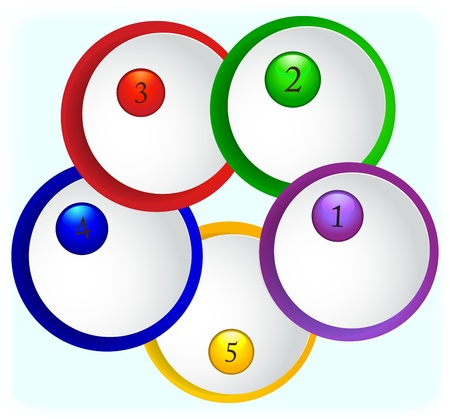 Paper round icons with numbers on colored backgrounds. Vector Eps 10