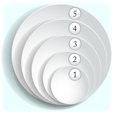 Paper round icons with numbers.