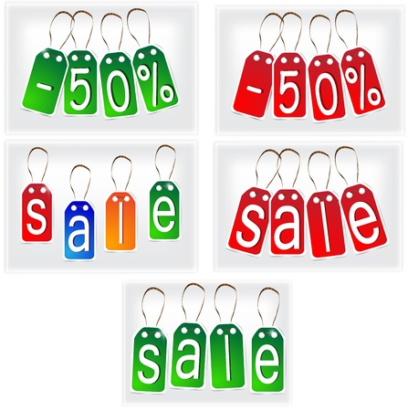 Red and green and multi-colored SALE signs made of paper. Set.