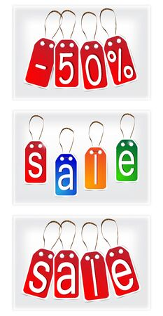 Red and multi-colored SALE signs made of paper. Set.  Illustration