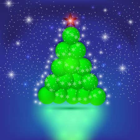 Christmas Tree of the balls. Vector eps 10. Illustration