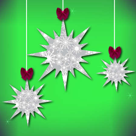 Textural Christmas stars with snowflakes and bows. Vector eps 10. Illustration