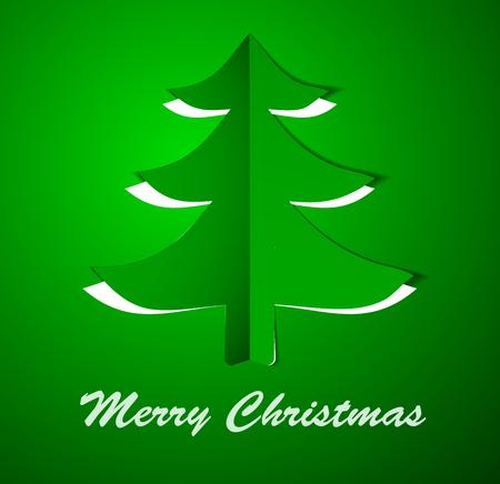 Green Christmas tree on paper. Vector illustration. Eps10.