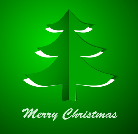 Green Christmas tree on paper. Vector illustration. Eps10. Vector