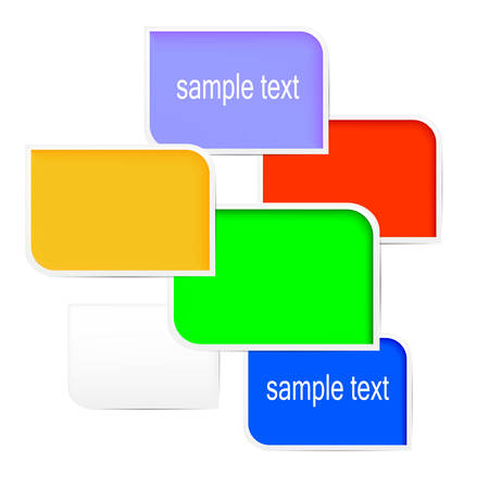 colorful paper icons with text.  Vector