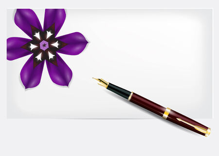 Paper with a purple flower and pen. Detailed vector background.