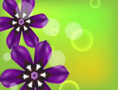 Purple flowers on a green . Detailed vector background.  Vector