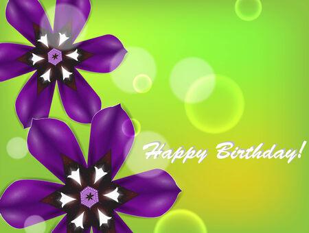 Birthday card with purple flowers. Illustration