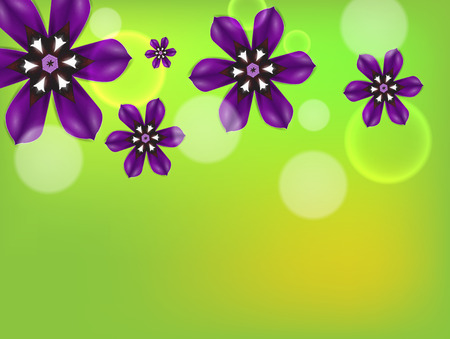 Purple flowers. Detailed vector background.
