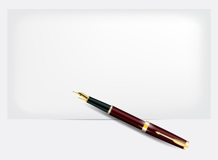 nib: Pen with a gold  nib and a sheet of paper.