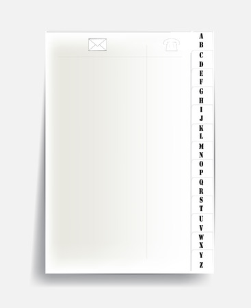 notebook page with alphabet.    Vector