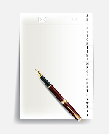 notebook page with alphabet and pen with gold nib. Vector eps 10 Vector