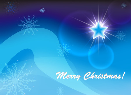 Christmas star on a blue background and text. Vector. Eps 10. Illustration