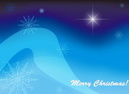 Christmas blue background and text. Vector. EPS 10