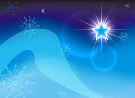 Christmas star on a blue background. Vector. EPS 10. Illustration