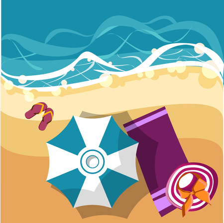 Holidays background with sea coast and beach umbrella. Vector top view summer illustration.