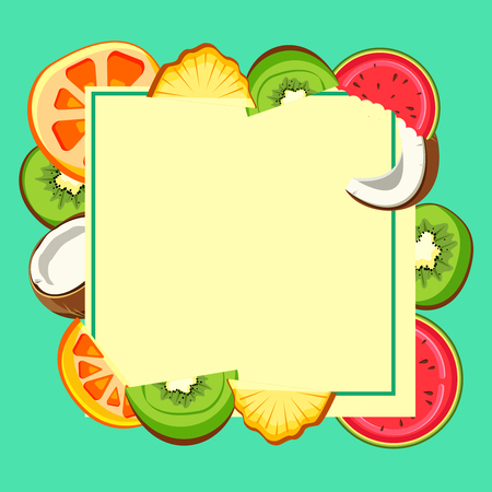 Yellow summer background with bright slices of tropical fruits. Vector paper illustration.
