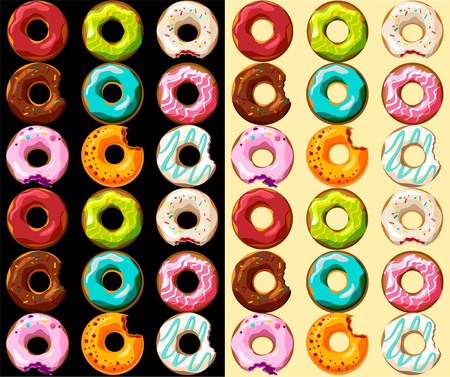 Background with glazed colored donuts seamless pattern. Vector illustration. Illustration