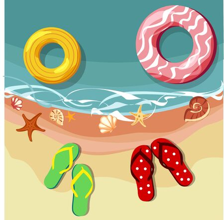 Holidays background with lifebuoys and flip-flops. Vector top view summer illustration. Illustration