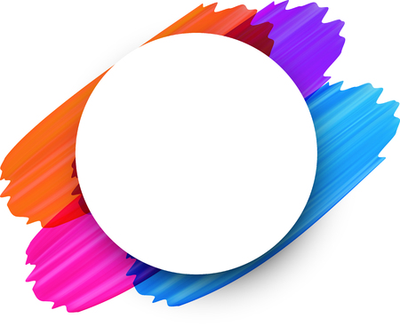 White round background with colorful paint brush strokes. Vector illustration.