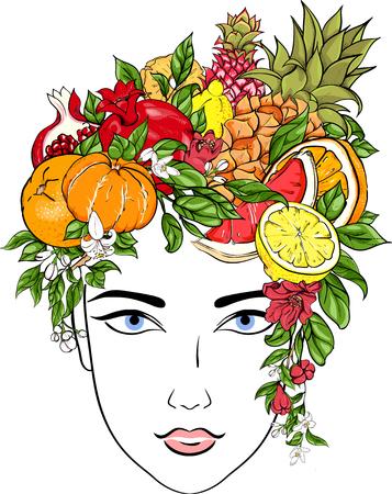 Porträt des Mädchens mit Frisur von exotischen Früchten auf Weiß . Vektor-Illustration Standard-Bild - 99000045