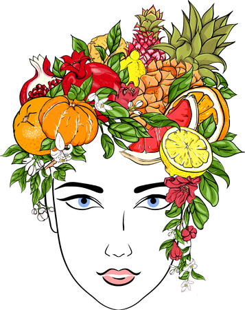 Portrait of girl with hairdo from exotic fruits on white. Vector illustration.