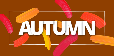 Autumn background with bright watercolor brush strokes. Vector paper illustration.