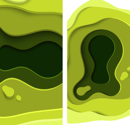 Green 3D abstract backgrounds with paper cut shapes. Vector design illustration.