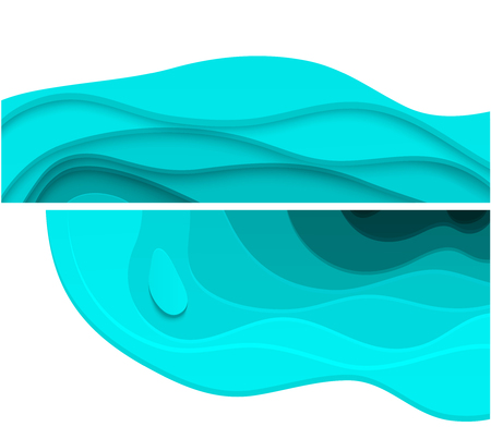Turquoise 3D abstract backgrounds with paper cut shapes. Vector design illustration.