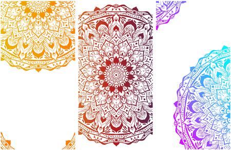 White backgrounds set with colorful mandalas with oriental ornament. Vector paper illustration.