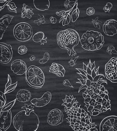 Grey pattern with white silhouettes of tropical fruits. Vector paper illustration.  イラスト・ベクター素材