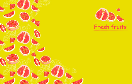 Yellow fresh fruits background with grapefruit slices pattern. Vector illustration.